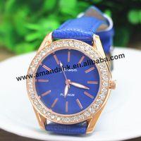 100pcs/lot 2014 New Clock Women Rhinestone Watch Lady Geneva Leather Dress Watches Cute Rose Gold Luxury Quartz  Wrist Watches