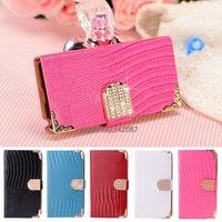 2014 Fashion Luxury Diamond Bling PU Leather Crocodile Flip Cover Case Wallet For Samsung Galaxy Note3 Case B003 SV001436