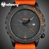 INFANTRY Fashion Outdoor Men's Date Quartz Analog Wrist Watch US Military Sports Orange Nylon Strap Unisex