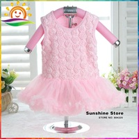 Sunshine Store #7A0169 3pcs/lot  Shabby Flower Girls Dresses Appliques Baby Rompers Ball Gown Party Dresses Baby Boutique Outfit