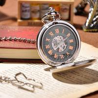 Fashion Men Skeleton Pocket Watch Antique Mechanical Hand Wind Pocket Watch Steampunk Watches