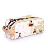 Danny Bear Big Double Pocket Printing Leather PU Women Clutch Bag Wallet Purse Fashion Duffle Day Clutches Handbag BFK0261