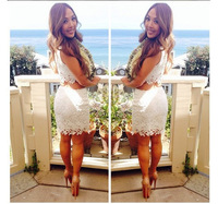 2014 new fashion women skirt knee length flower lace two 2 piece skirt ladies top and skirt party skirt white pink