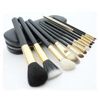 Wholesale Professional Makeup Brush 12 PCs Brush Cosmetic Make Up Set With 2 Case Bag Kit, Free shipping
