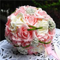 30 Flowers Romantic Wedding Colorful Bride 's Bouquet Silk Artificial Bride Hands Holding Rose Flower Wedding (6 Colors )