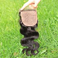 Silk base top closure Peruvian virgin hair body wave middle/free/3 way part silk base closure 6A SunnyQueen hair products
