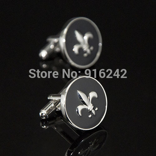 High Quality Russia Hot Sale Brass Stamping Gemelos Mens Custom Shirt Buttons Iris Vintage Fleur De Lis Cheap Wedding Cufflinks(China (Mainland))
