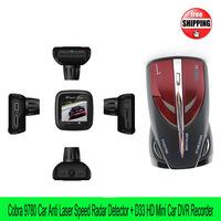Free shipping Digital car speed Radar Laser Detector Cobra 9780 Russian/English+D33 Mini Car DVR Camera HDMI H.264 Night Vision
