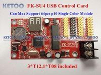 FK-SU4 USB port 64pcs p10 support 2048*16/1024*32 Pixels single&Tri-color LED display Control  Module Card panel