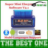 New Released Multi-Languages Super Mini Elm327 Bluetooth Obd2 / Obd II V2.1 Mini Elm 327 Android Torque Auto Diagnostic Tool