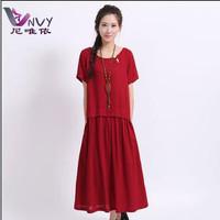New spring 2014 women summer red bohemian keenlength dress desigual elegant high quality linen vestido causal beach dresses W069