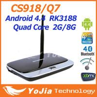 Original Android TV Box CS918 Q7 MK888 K-R42 Quad Core RK3188  XBMC Preinstalled Bluetooth 2GB/8GB Mini PC TV Free Shipping