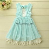 2015 Design Blue Girls Dresss Summer Lolita Dresses For Girls Children Wear Kids Dress Free shipping