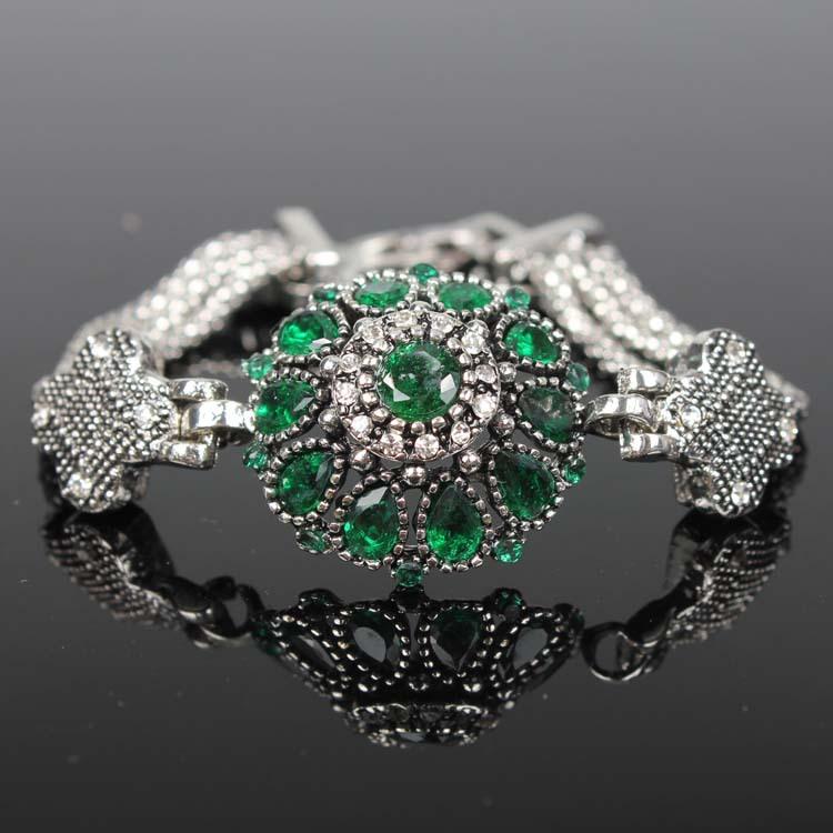 2014 Latest design Popular Fashion 925 Silver Jewelry Retro Crystal Bracelet Cuff Parfumes Women Free Shipping(China (Mainland))