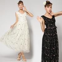 2014 Summer Women Slim Elegant Sexy V-neck White Black Embroidery Rose Gauze Sleeveless Maxi Long Full Casual Party Dress QZ039