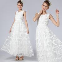 Princess Dress White Summer New 2014 Women Fashion Embroidery Brief Vest Tank Maxi Long Dress Femininas Novidades Vestidos QZ053