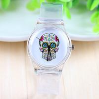New Arrival Jelly Silicone Watch Transparent Belt Skull Casual Women Dress Watch Girls Clock 1piece/lot BW-SB-655