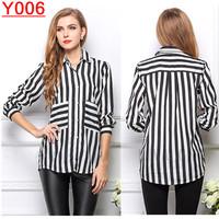 Y006--Fashion Leisure Chiffon Shirt long sleeve Pocket  stripe loose blouse  for Women Free shipping