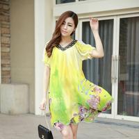 Plus size female dress big flower v-neck chiffon dress loose dress