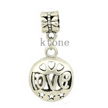 1 Piece , 2014 New Arrival 925 Silver Beads, Love Pendant Fit Pandora Charms Bracelets & Necklace ,SPP010