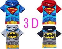 new 2014 summer fashion 3D Cartoon print children t shirts,superman Batman kids boys clothes child hoodies clothing Top Tee 5510