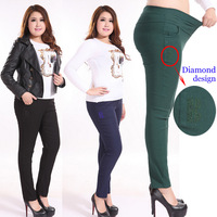 Extra Large 3XL-6XL Fat MM Clothing Trousers Pencil Pants Elastic High Waist Women Skinny Trousers Green/Dark blue/Black/Red .