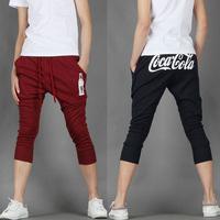 2014 new arrival men's  sports pants trousers male harem capris pants slim slim print design M/L/XL/XXL