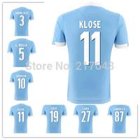 14/15 Lazio Home Light Blue Jerseys Football kits HERNANES EDERSON KLOSE LEDESMA CANA CANDREVA BIAVA 2014/15 soccer uniforms