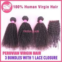 4Pcs Lot Unprocessed  6A Peruvian Virgin Hair with Lace Closure, 3pcs Kinky Curly Hair Bundles with 1Pcs Bleached Knots Closure
