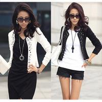 Cozy women clothes Shawl Coat Comfortable leisure slim Wild suit Ms. jacket lady black white s1023