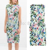 (Free shipping)  2014 Hot sale Womens  Slash Neck Elegant Flower  Fashion Slim fit dress ladies  Slim fit Party dress