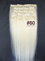 8PCS 105g 40cm~65cm Clip In  Human Hair Extensions #60 Platinum Blonde  Full Head