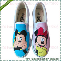 Mouse British/American Fag Style Superman Women and Men Woman Canvas Shoes Sneakers Low Help Hand-painted Shoes