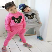 Retail ! Hot sale Children's clothing sets boys and girls long sleeve cartoon t-shirt + long pants Little Spring GLZ-T0332