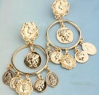 Free shipping ~ fashion new Bohemian metal COINS earring head pendant earrings woman gold Drop earrings