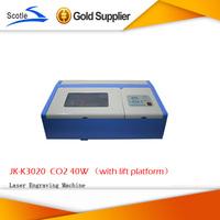 Latest Update Mini Laser Engrave Machine With Lift Platform CO2 JK-K3020 40W Laser Cutting Machine 110V/220V