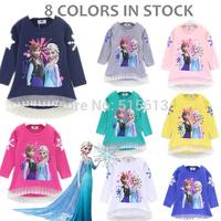 Cheap 2014 New 2-9yrs Girls Frozen tops kids t-shirt cartoon summer tops girl's princess tees 8 colors in stock,children clothes