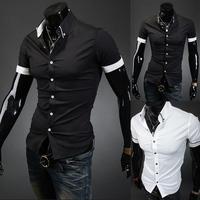 New 2014 Spring Mens Fashion Dress Shirts Plaid Hit Color Decorate Slim Fit Short sleeved Shirts Free Shipping  5016