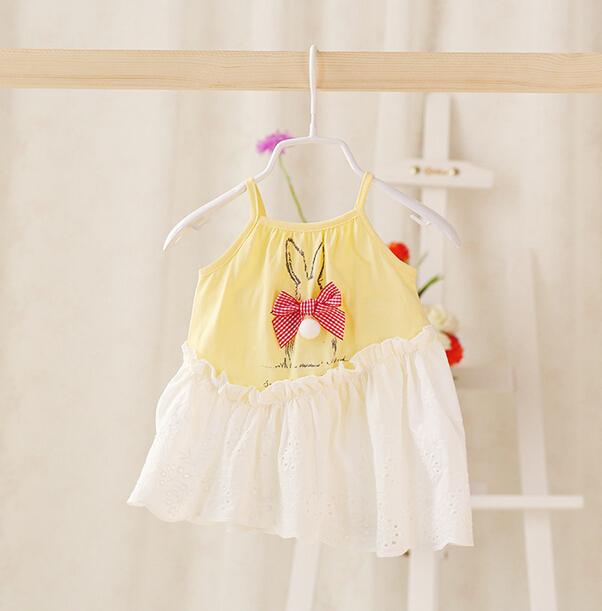 2015 New,baby girls slip dress,children summer casual dress,bow,3 colors,5 pcs/lot,wholesale,2089(China (Mainland))
