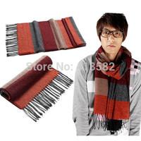 WJ005-New Fashion Winter Men's Scarf  Soft Cashmere scarves women Knitting Stripe 8 colors free drop shipping