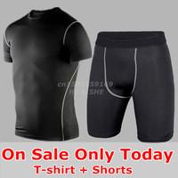 T-Shirt Shorts Men Basketball Suit Training Jersey Football Soccer Jerseys Running Sport Clothing Set Tight Pants Compression