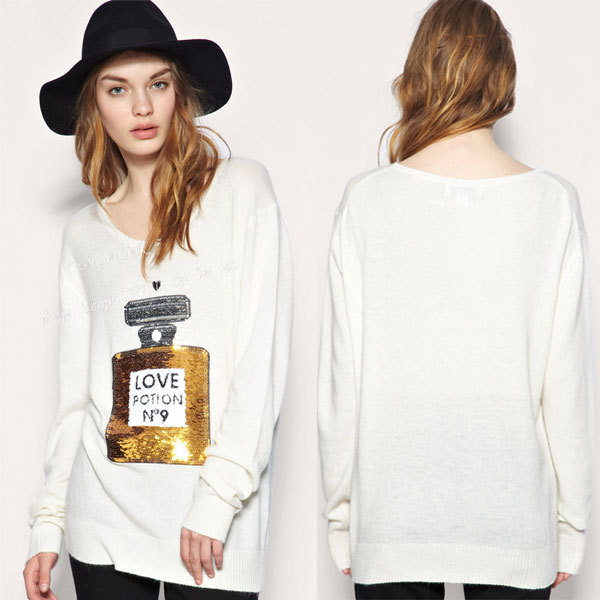 2014 new popular knit women love potion 3d pullovers with perfume bottle sequin casual sweater tops shirt loose jumper cardigan!(China (Mainland))