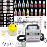 OPHIR Professional Nail Tools 3 Tips Airbrush Kit with 16 Color Airbrush Nail Ink,40pcs Nail Stencil & Cleaning Set_OP-NA002