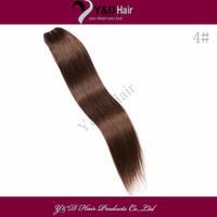 Wholesale 8pcs/Lot # 4 Medium Brown Straight Weft Brazilian Virgin Human Weaving Hair Extensions100g/pc Full Head