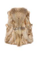 Autumn Winter Female Genuine Real Spliced Rabbit Fur Vest Raccoon Fur Collar Women Fur Waistcoat Lady Gilet QD30300