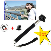 A Handheld Self-Timer Monopod Telescopic Extendible Selfprotrait Prop Stand Holder for gopro Camera+Mount Adapter+Phone Clip