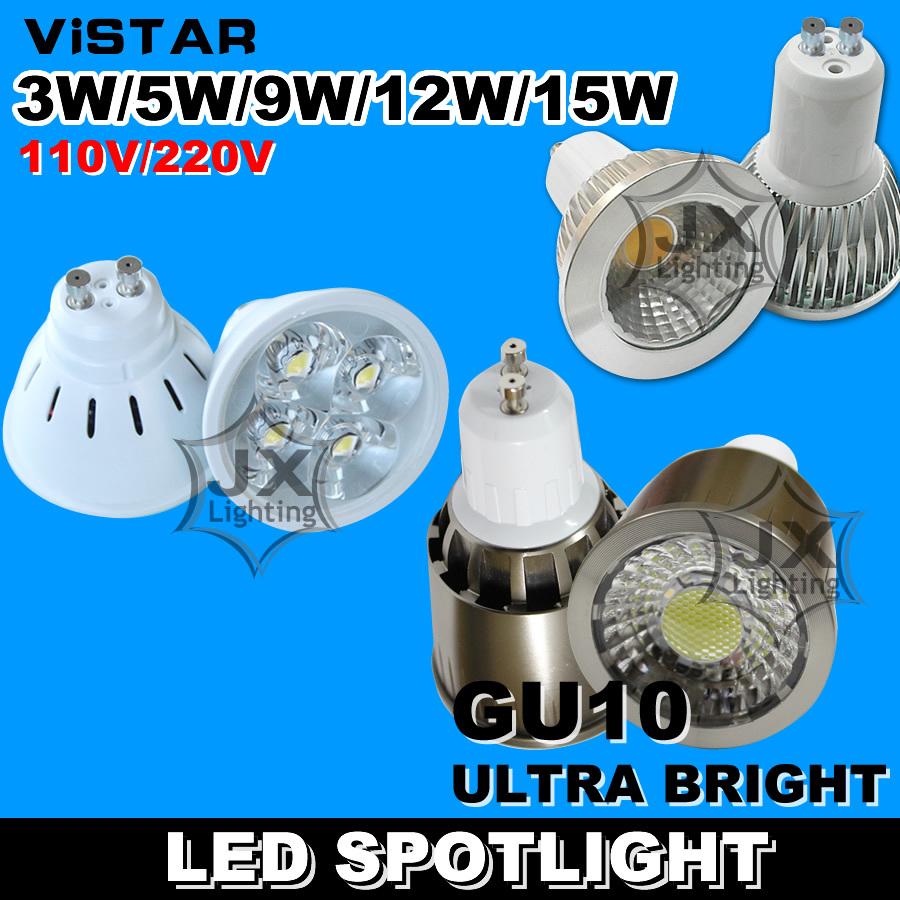 3W 5W 9W 12W 15W LED spotlights lamp cup GU10 LED bulbs downlight 110V-220V 230V Warm white Cold white Wholesale free shipping(China (Mainland))