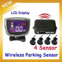 LCD Wireless Car Parking Sensor Backup Reverse Rear View Radar Alert Alarm System with 4 Sensors,Free Shipping