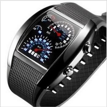 Цифровой из светодиодов подсветки милитари наручные часы наручные часы спортивный метр циферблат часы для мужчин черный BS88