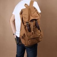 Vintage Men Women Casual Canvas Leather Backpack Rucksack Bookbag Satchel Hiking Travel Bag Shool Bag
